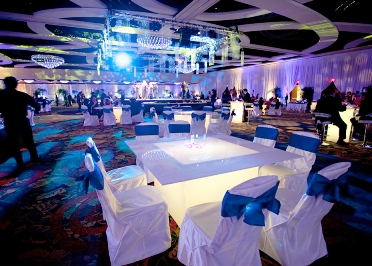 corporate party chairs & lighting arrangements by kiyoh event planner